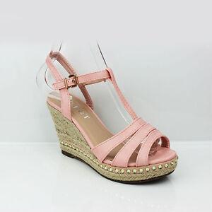 3 Ladies Sandals Heel Shoes 8 Salmon Wedge Womens Peep Espadrilles Platform Size Toe wq0BvF6