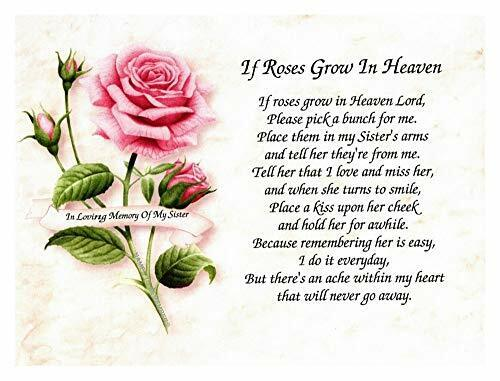 """/""""If Roses Grow In Heaven/"""" Memorial Poem For Loss Of Sibling Perfect For Framing"""