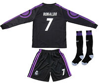 Real Madrid Ronaldo 7 Away Black Kids Soccer Jersey & Shorts Youth Sizes