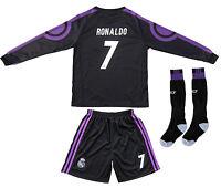 Real Madrid Ronaldo 7 Away Black Kids Soccer Jersey & Shorts Youth Sizes