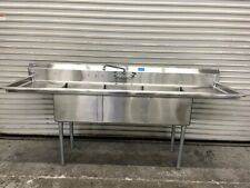New 3 Compartment Sink 90 Stainless Steel 18x18 Basin Rj Fab Nsf Amp Faucet 6679