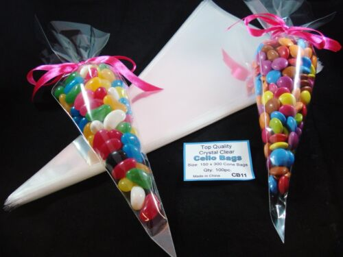 100 Clear Cello Cone Bags Lollies Easter Favours Sweets Candy Treat FREE POSTAGE