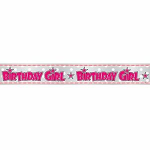 birthday girl 12ft foil banner party decoration birthday bunting