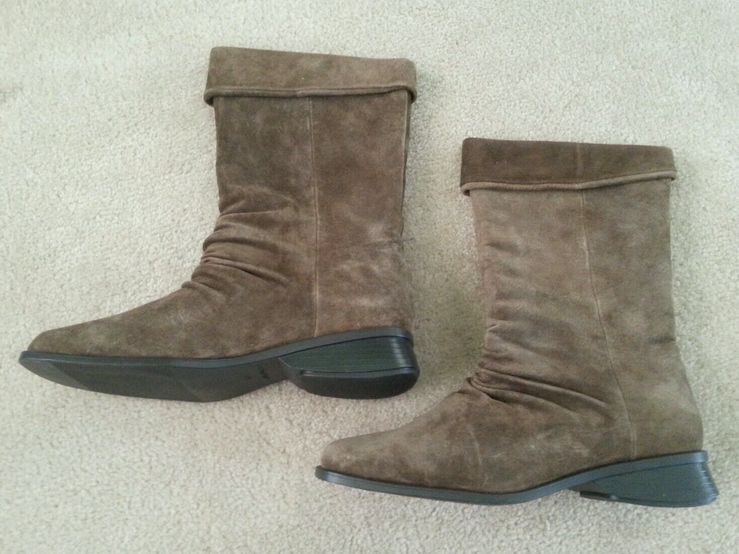 Markon-Suede Leather Mid-Calf Boots Free Shipping