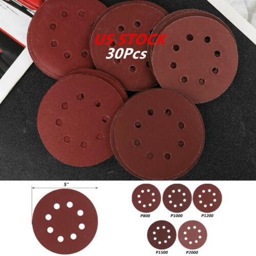 30Pcs 8 Hole Sanding Discs Sandpaper 5Inch for 800//1000//1200//1500//2000 Grits USA