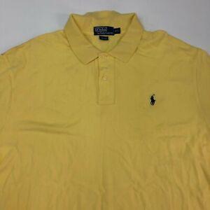 Polo Ralph Lauren Polo Shirt Mens 2XL XXL Yellow Short Sleeve 100% Cotton Hi Low