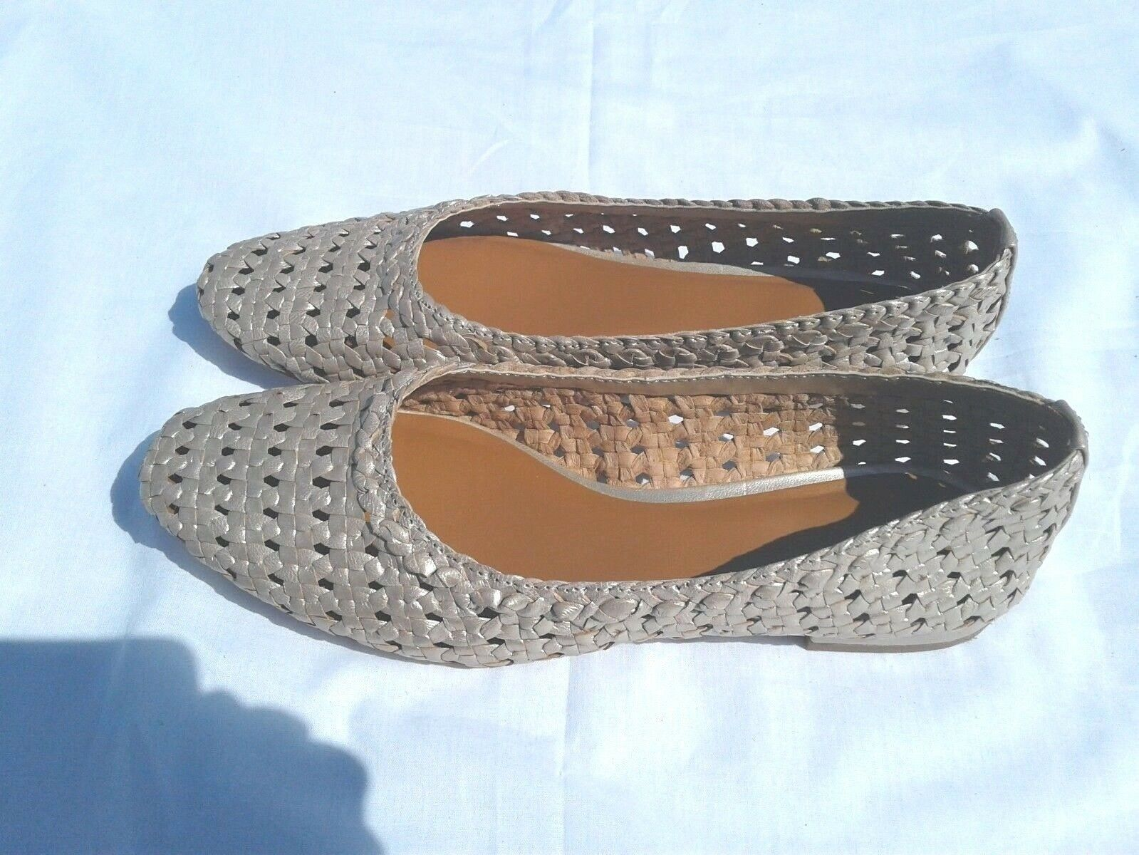 HALSTON Irene Size 7.5M gold Leather Womens Woven Flats NWOB Retail  129