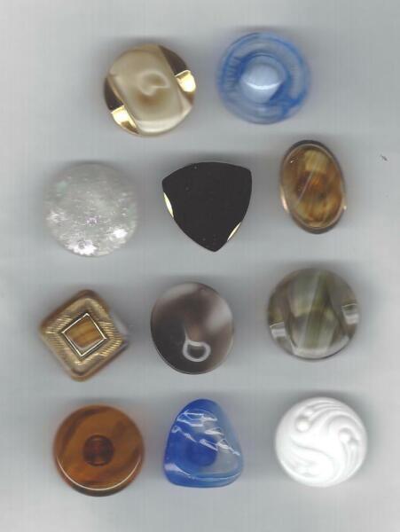 11 Alte Bunte Glas-knoepfe ø22-23mm (b87) Schoene Muster Sammlung SchnäPpchenverkauf Zum Jahresende