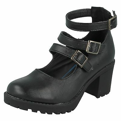 GIRLS RED TAG CHUNKY HEELED BUCKLE STRAP BLACK SMART CASUAL SCHOOL SHOES H3029