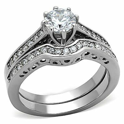 Silver Stainless Steel Cubic Zirconia Wedding Ring Set Fashion Jewelry