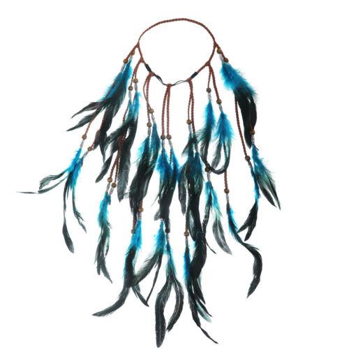 Fashion Boho Feather Headband Hairpiece Beads Feather Headdress Hairband