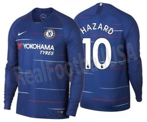 Image is loading NIKE-EDEN-HAZARD-CHELSEA-FC-LONG-SLEEVE-HOME- 15e742595