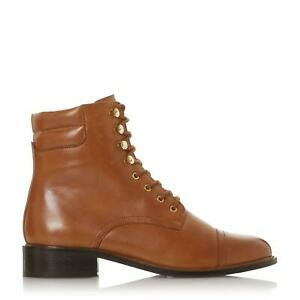 Dune Ladies PITCH Low Block Heel Round Toe Lace Up Boots Size UK 4