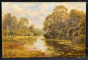 19th Century British River Landscape Oil Painting by William LANGLEY 1880-1920