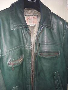 best website 359e7 424de Dettagli su Chevignon giubbotto in pelle verde vintage