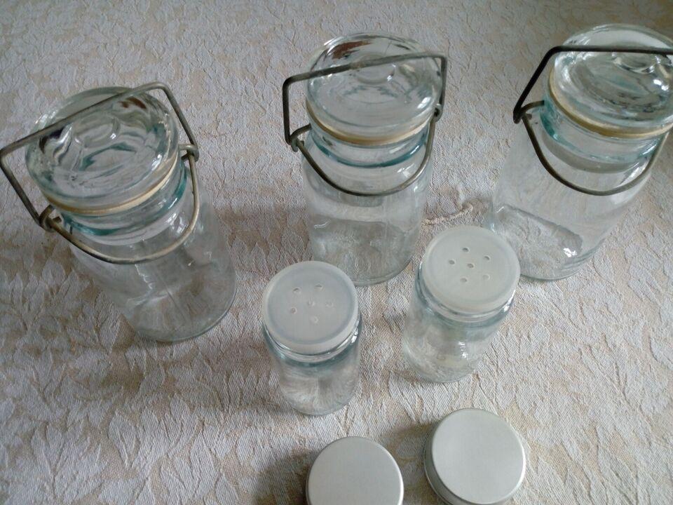 Glas, 5 opbevarings glas, salt peber sukker mel osv