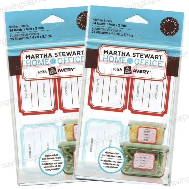 MARTHA STEWART Removable Kitchen Labels Freezer Spice Jars