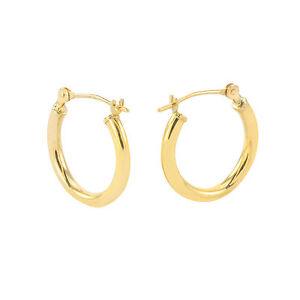 Image Is Loading 16mm Small Medium 14k Yellow Gold Hoop Earrings