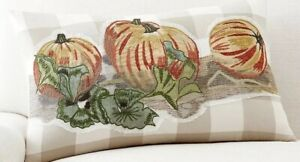 NEW-Pottery-Barn-Pumpkin-Patch-Plaid-Embroidered-Pillow-Cover-Sham-Lumbar-16x26