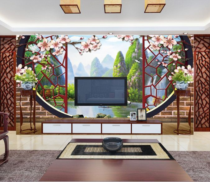 3D Archway Forest River Paper Wall Print Decal Wall Wall Murals AJ WALLPAPER GB