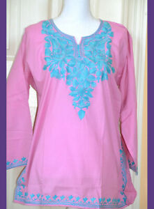 Turquoise-Embroidered-Pink-Color-Cotton-Tunic-Top-Kurti-from-India-X-Large