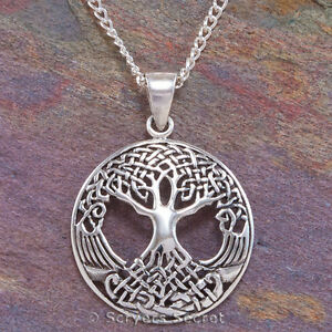 CELTIC-TREE-OF-LIFE-Necklace-Irish-Pendant-Knot-Work-Sterling-Silver-925-amp-chain