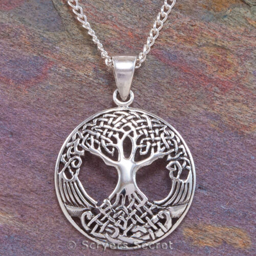 CELTIC TREE OF LIFE Necklace Irish Pendant Knot Work Sterling Silver 925 /& chain