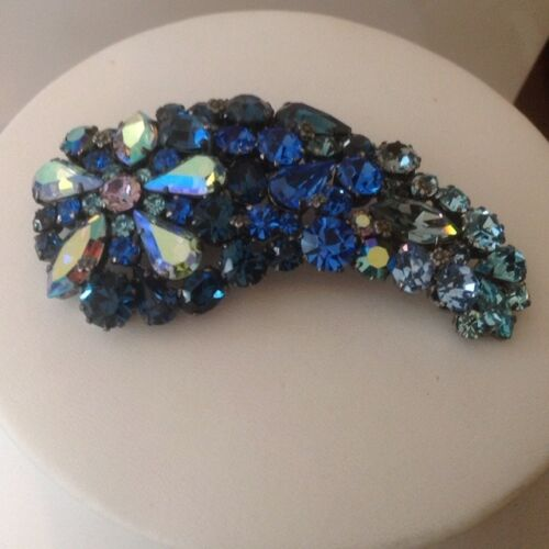 Shades of Blue Vintage Designer Signed AUSTRIA Brooch and Pendant