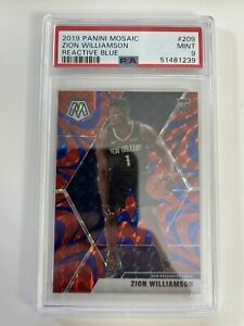 2019 20 Panini Mosaic Zion Williamson Reactive Blue Prizm Rookie PSA 9 Basketbal