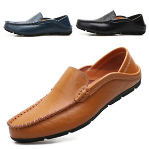 men's casual leather moccasins loafer slip on driving