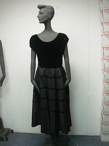 VINTAGE-1940s-LADIES-BLACK-VELVET-TAFFETA-COCKTAIL-DRESS-BUST-34-034