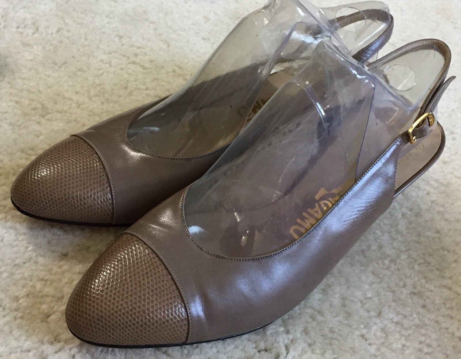 Women's Salvatore Ferragamo Taupe Leather Slingback Cap Toe Pumps shoes 7.5 M
