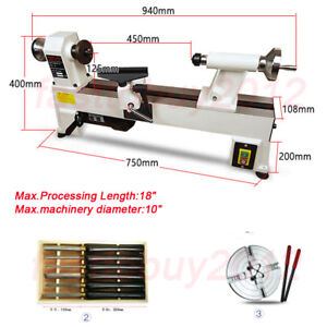 550W 5 Speed Wood Lathe Woodworking lathe Bench Top UP to