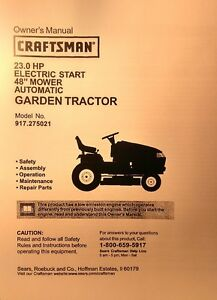 Details about Sears Craftsman 917 27021 GT3000 Garden Tractor Owner, Parts,  Service (2 Manuals