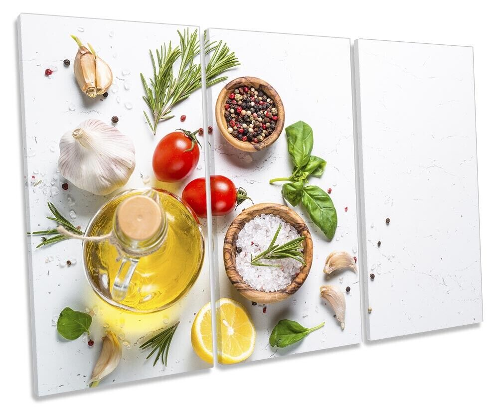 Spices Herbs Olive Oil Print TREBLE CANVAS WALL ART Picture Weiß
