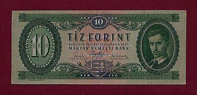 HUNGARY 10 Forint 1947 P-161 VF+  RARE - AUSTRIA