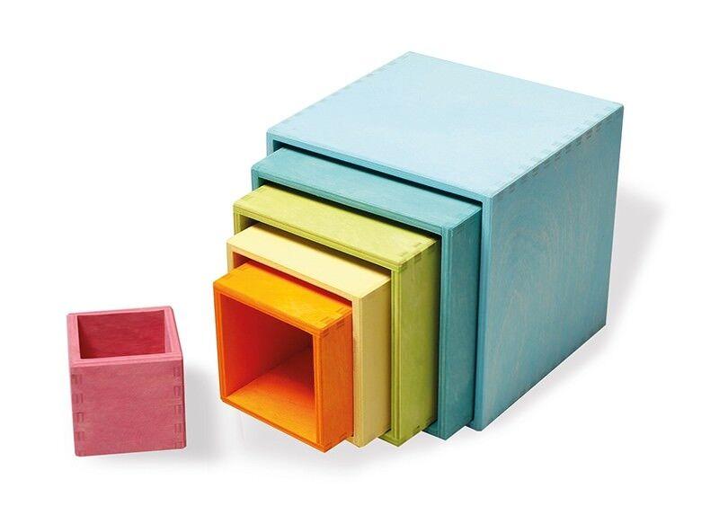 Grimm´s Großer Kistensatz Pastell Holz Stapelspiel Waldorf Aufbewahrung Kisten