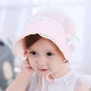 1990ee17768 Newborn Hat Baby Girl Boy Sun Hat Infant Beach Pure Color Cap Lace ...