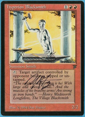 ABUGames s2166 Hyperion Blacksmith Legends NM Red Uncommon Artist Signed CARD
