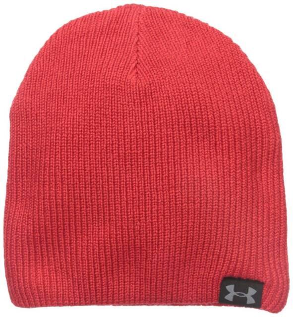 8ce627563 Under Armour UA Logo Men Red Basic Knit 100 Acrylic Beanie Hat One Size