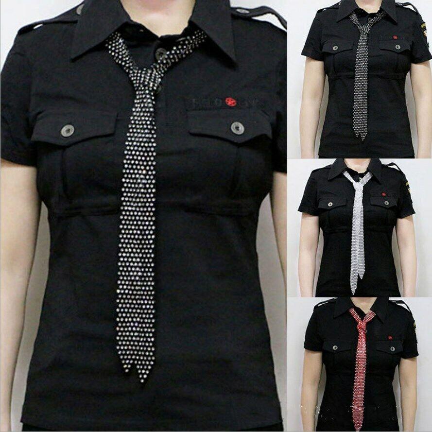 Crystal Womens Rhinestone Necktie Pendant Waist Belt Shiny Collar Choker