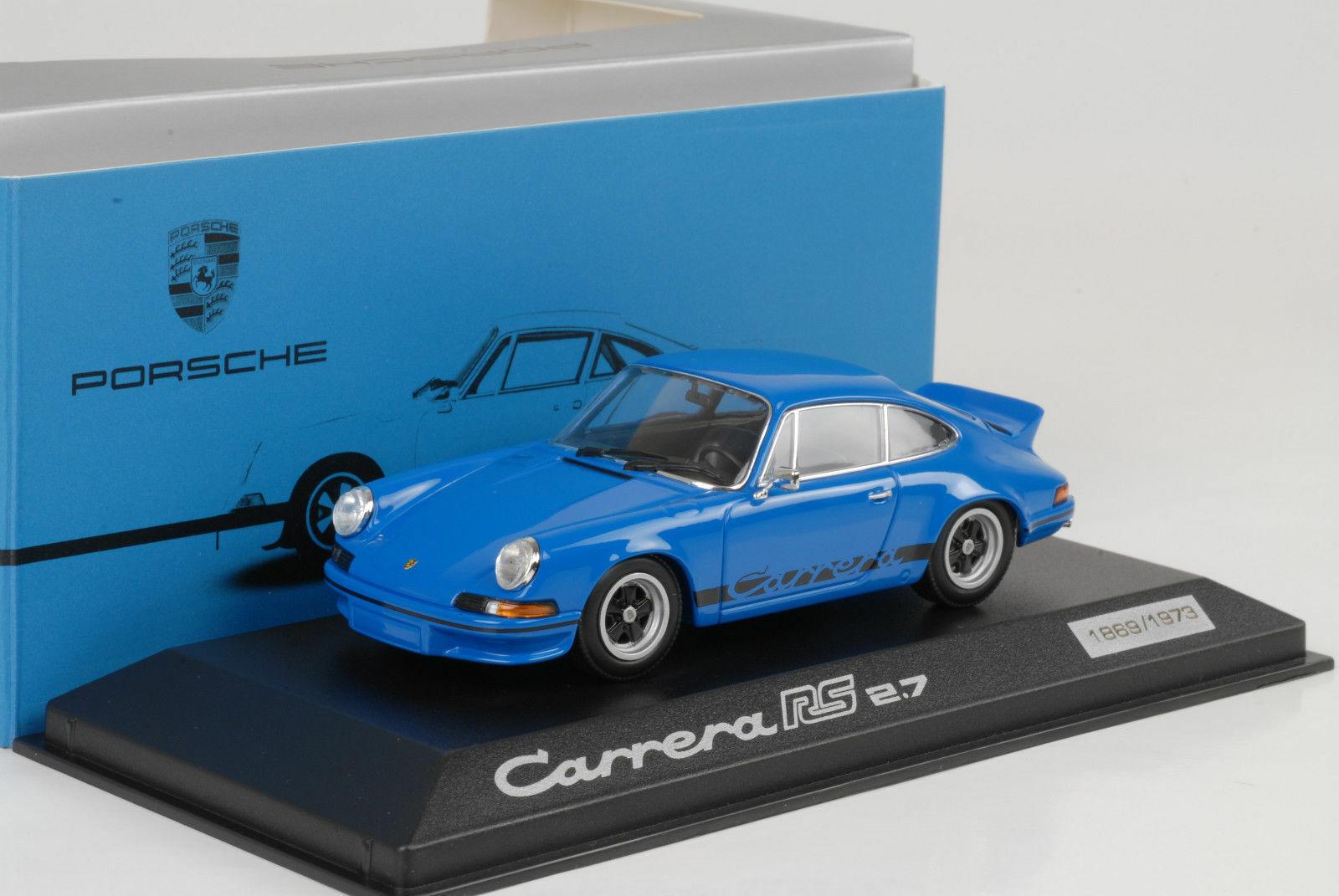 1973 Porsche 911 Carrera Rs 2.7 Blu Stripes Nero 1 43 Minichamps Wap