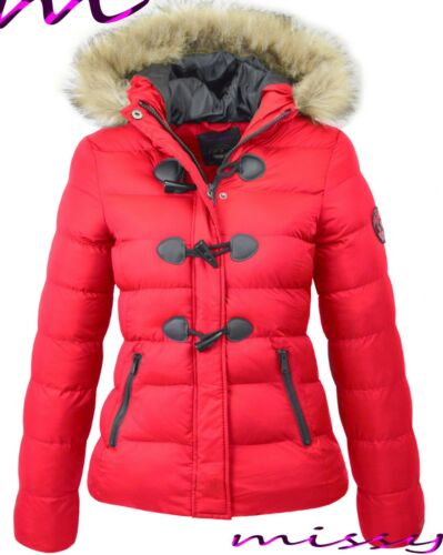 NEW WOMENS LADIES QUILTED WINTER COAT PUFFER FUR COLLAR HOODED JACKET PARKA wizz