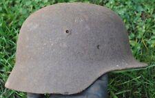 #48 WWII Germany German Original War Damaged Relic Combat Helmet HOLE IN TOP