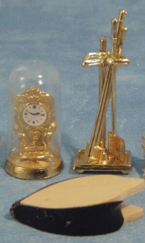 Maison de poupées miniature échelle 1/12th Dôme Horloge, soufflet et compagnon Set