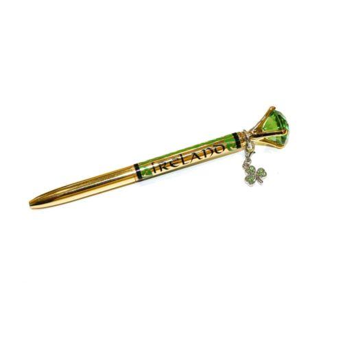 Irish Ireland Shamrock Charm Green Stone Gold Silver Pen Office Stationary