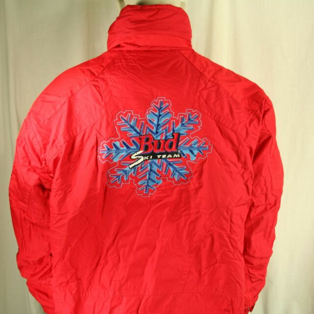 Vtg Budweiser Ski Team Red Nevica Men 42 Winter Jacket RECCO Bud Beer XPS