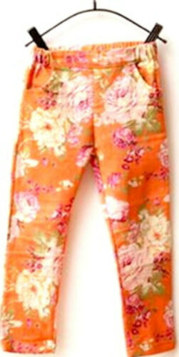 Kids Girls Casual Printed Elastic Waist Stretch Skinny Jeans Trouser Pants 2-7YR