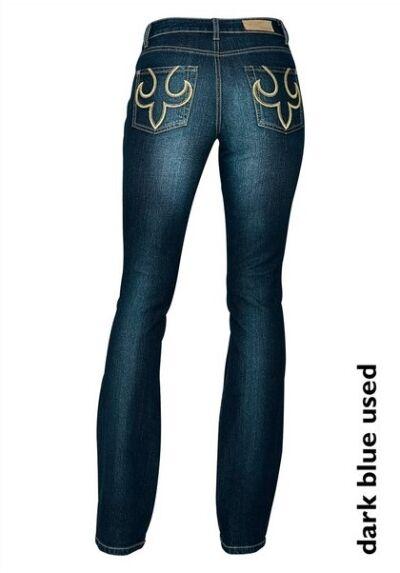 Arizona Jeans Kurz-Gr.18 (36) Nuovo Donna Pantaloni Stretch Scuro Blu Usato Ajc