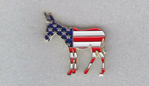 Democrat Party Donkey Lapel Pin US Flag Colors Red/White/Blue/Gold